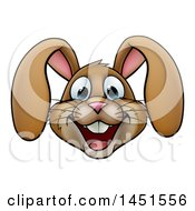 Clipart Graphic Of A Cartoon Happy Brown Easter Bunny Rabbit Face Royalty Free Vector Illustration
