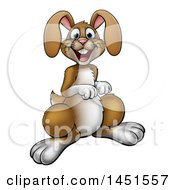 Clipart Graphic Of A Cartoon Happy Brown Easter Bunny Rabbit Royalty Free Vector Illustration by AtStockIllustration