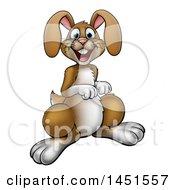 Cartoon Happy Brown Easter Bunny Rabbit
