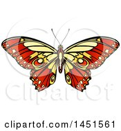 Clipart Graphic Of A Beautiful Yellow And Red Butterfly Or Moth Royalty Free Vector Illustration by AtStockIllustration