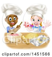 Clipart Graphic Of A Cartoon Happy Black Boy And White Girl Baking Star Shaped Cookies Royalty Free Vector Illustration