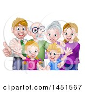 Clipart Graphic Of A Happy Caucasian Family With Children Parents And Grandparents Waving And Giving Thumbs Up Royalty Free Vector Illustration