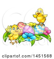Clipart Graphic Of Cartoon Cute Yellow Chicks With Easter Eggs And Flowers Royalty Free Vector Illustration