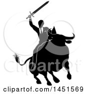 Clipart Graphic Of A Black And White Silhouetted Business Man Holding A Sword And Riding A Stock Market Bull Royalty Free Vector Illustration