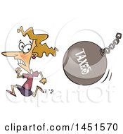 Clipart Graphic Of A Cartoon White Woman Running From A Taxes Wrecking Ball Royalty Free Vector Illustration by toonaday