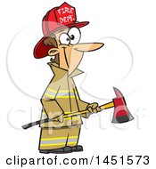 Cartoon White Woman Firefighter Holding An Axe