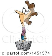 Clipart Graphic Of A Cartoon White Woman Debtor Stuck In A Cement Block Royalty Free Vector Illustration