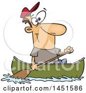 Cartoon Happy White Man Canoeing