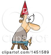 Clipart Graphic Of A Cartoon Bad White Male Cartoonist Holding A Pencil Sitting On A Stool And Wearing A Dunce Cap Royalty Free Vector Illustration by toonaday
