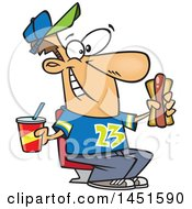 Cartoon White Male Sports Fan With A Soda And Hot Dog At A Ball Game