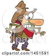Clipart Graphic Of A Cartoon Angry Cowboy Man Ready To Draw His Guns Royalty Free Vector Illustration