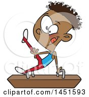 Clipart Graphic Of A Cartoon Black Boy Gymnast On A Pommel Horse Royalty Free Vector Illustration