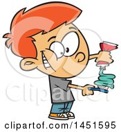 Cartoon Red Haired White Boy Squirting Paste On His Toothbrush