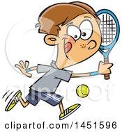 Cartoon White Boy Playing Tennis