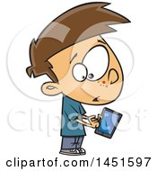 Cartoon White Boy Warily Tapping A Tablet Computer