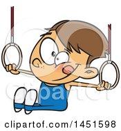 Cartoon White Boy Gynmast Using The Rings