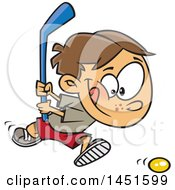 Clipart Graphic Of A Cartoon White Boy Playing Floor Hockey Royalty Free Vector Illustration