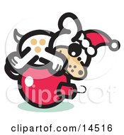 Cute Dog Wearing A Santa Hat And Lying On A Red Christmas Bauble Ornament Clipart Illustration by Andy Nortnik