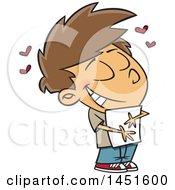Cartoon White Boy Hugging A Class Hand Out