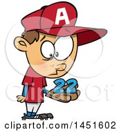 Cartoon White Boy Baseball Player Holding A Catch 22