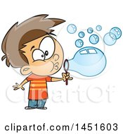 Clipart Graphic Of A Cartoon White Boy Blowing Bubbles Royalty Free Vector Illustration by toonaday