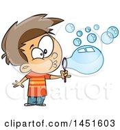 Cartoon White Boy Blowing Bubbles