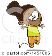 Clipart Graphic Of A Cartoon Happy Black Girl Hopping Royalty Free Vector Illustration