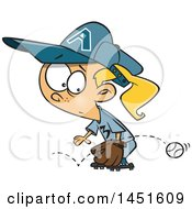 Clipart Graphic Of A Cartoon Blond White Girl Baseball Player Trying To Stop A Grounder Ball Royalty Free Vector Illustration