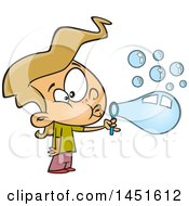 Poster, Art Print Of Cartoon Blond White Girl Blowing Bubbles