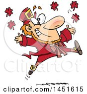 Clipart Graphic Of A Cartoon Leaping Red Leprechaun Royalty Free Vector Illustration by toonaday