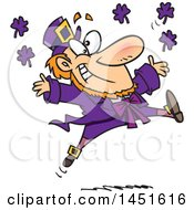Clipart Graphic Of A Cartoon Leaping Purple Leprechaun Royalty Free Vector Illustration by toonaday
