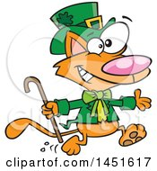 Clipart Graphic Of A Cartoon Running St Patricks Day Ginger Leprechaun Cat Royalty Free Vector Illustration
