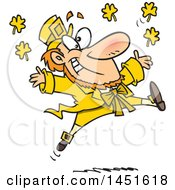Clipart Graphic Of A Cartoon Leaping Yellow Leprechaun Royalty Free Vector Illustration by toonaday
