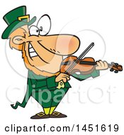Clipart Graphic Of A Cartoon Leprechaun Playing A Violin Royalty Free Vector Illustration