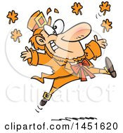 Clipart Graphic Of A Cartoon Leaping Orange Leprechaun Royalty Free Vector Illustration by toonaday