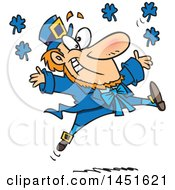 Clipart Graphic Of A Cartoon Leaping Blue Leprechaun Royalty Free Vector Illustration by toonaday