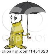 Clipart Graphic Of A Cartoon Shower Ready Monster Holding An Umbrella Royalty Free Vector Illustration by toonaday