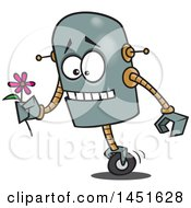 Cartoon Romantic Robot Holding A Flower