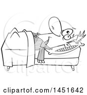 Cartoon Black And White Lineart Insomniac Man Laying In Bed