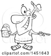 Clipart Graphic Of A Cartoon Black And White Lineart Man Enjoying A Treat On Ice Cream Day Royalty Free Vector Illustration