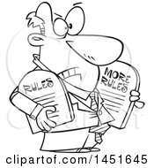 Clipart Graphic Of A Cartoon Black And White Lineart Business Man Carrying More Rules Tablets Royalty Free Vector Illustration