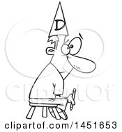 Cartoon Black And White Lineart Bad Male Cartoonist Holding A Pencil Sitting On A Stool And Wearing A Dunce Cap