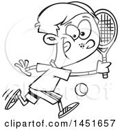 Clipart Graphic Of A Cartoon Black And White Lineart Boy Playing Tennis Royalty Free Vector Illustration