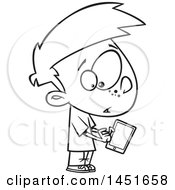 Cartoon Black And White Lineart Boy Warily Tapping A Tablet Computer