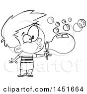 Cartoon Black And White Lineart Boy Blowing Bubbles
