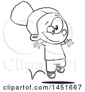 Cartoon Black And White Lineart Happy Girl Hopping