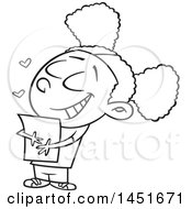Cartoon Black And White Lineart Girl Hugging A Class Handout