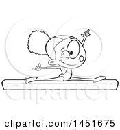Clipart Graphic Of A Cartoon Black And White Lineart Girl Gymnast Doing The Splits On A Balance Beam Royalty Free Vector Illustration by toonaday