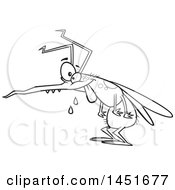 Cartoon Black And White Lineart Crazy Hungry Mosquito