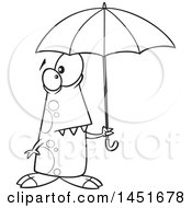 Clipart Graphic Of A Cartoon Black And White Lineart Shower Ready Monster Holding An Umbrella Royalty Free Vector Illustration